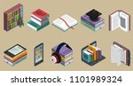 isometric colorful books... | Shutterstock .eps vector #1101989324