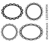 set frame oval lace black...   Shutterstock . vector #110198954