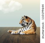 Tiger Under The Sky With Cloud...