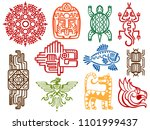 colorful ancient mexican... | Shutterstock . vector #1101999437