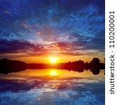 Nice Sunset Scene On Lake