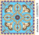 bandanna with ornate beige... | Shutterstock .eps vector #1102002179