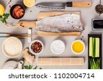 traditional sushi ingredients ... | Shutterstock . vector #1102004714