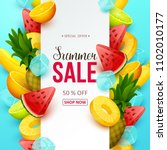 summer sale background with... | Shutterstock .eps vector #1102010177