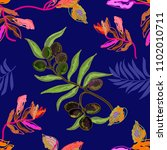 sketchy botanical print with... | Shutterstock .eps vector #1102010711