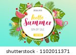 summer sale horizontal banner... | Shutterstock .eps vector #1102011371