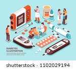 diabetic patient life isometric ... | Shutterstock .eps vector #1102029194