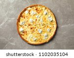 Delicious Cheese Pizza On Grey...