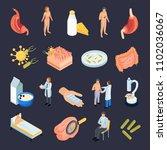 probiotics isometric icons set...   Shutterstock .eps vector #1102036067