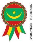 mauritania award ribbon vector... | Shutterstock .eps vector #1102036307