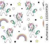 dabbing unicorn seamless... | Shutterstock .eps vector #1102049567