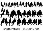 isolated  silhouette people sit ... | Shutterstock .eps vector #1102049735