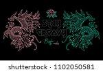 trendy design embroidered japan ... | Shutterstock .eps vector #1102050581