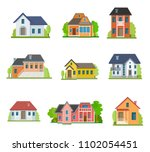 flat house front icon set ... | Shutterstock .eps vector #1102054451