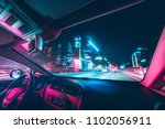 car speed drive on the road in... | Shutterstock . vector #1102056911