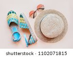 summer fashion flatlay with...   Shutterstock . vector #1102071815