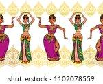 woman dancer in national indian ...   Shutterstock .eps vector #1102078559