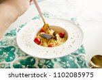 traditional italian pasta with... | Shutterstock . vector #1102085975