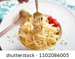 traditional italian pasta with... | Shutterstock . vector #1102086005