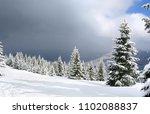 winter landscape of mountains... | Shutterstock . vector #1102088837