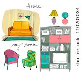 set of illustrated interior... | Shutterstock . vector #110209034