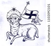 lamb of god christian symbol... | Shutterstock .eps vector #1102092101