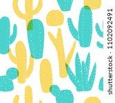 cactus pattern. summer style.... | Shutterstock .eps vector #1102092491