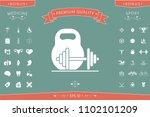 kettlebell and barbell icon | Shutterstock .eps vector #1102101209