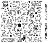 street wear fashion funny... | Shutterstock .eps vector #1102106885