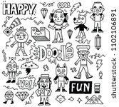 abstract fantastic happy doodle ... | Shutterstock .eps vector #1102106891