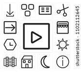 set of 13 icons such as play...