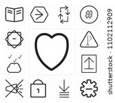 set of 13 icons such as heart ...