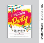 festa junina party poster... | Shutterstock .eps vector #1102113407