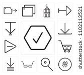 set of 13 icons such as checked ...