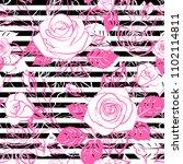pink roses on black on white... | Shutterstock .eps vector #1102114811