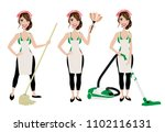cleaning lady in three... | Shutterstock .eps vector #1102116131
