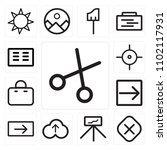 set of 13 icons such as cut ...
