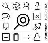 set of 13 icons such as search  ...