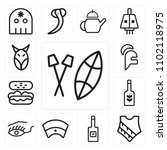 set of 13 icons such as shield  ...
