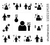 set of 13 icons such as chemist ...