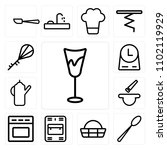 set of 13 icons such as glass ...