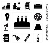 set of 13 icons such as crayon  ...