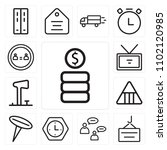 set of 13 icons such as coins ...