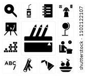set of 13 icons such as pencil...