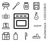 set of 13 icons such as oven ...