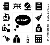 set of 13 icons such as speech...