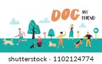 Stock vector people training dogs in the park dog poster banner characters walking outside with pets vector 1102124774