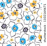 floral pattern with wildflowers ...   Shutterstock .eps vector #1102164671