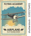 vintage aircaft poster.... | Shutterstock . vector #1102176401