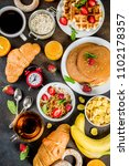 healthy breakfast eating... | Shutterstock . vector #1102178357